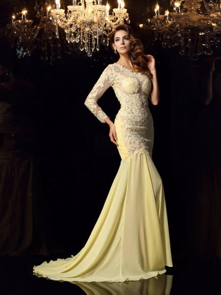 Trumpet/Mermaid One-Shoulder Applique Long Sleeves Dress with Long Chiffon