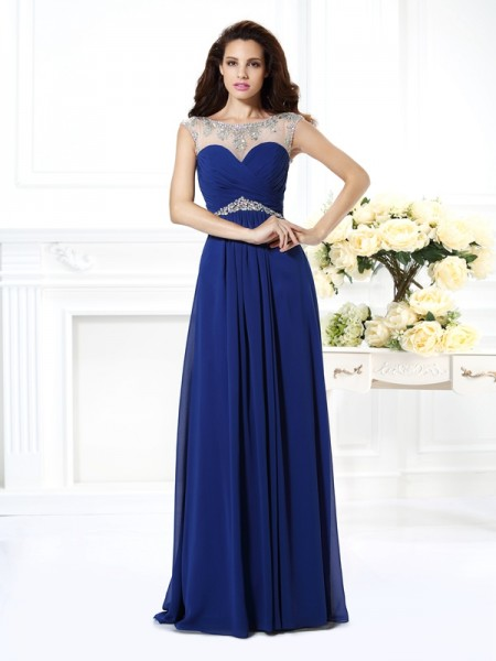 A-Line/Princess Bateau Beading Dress with Long Chiffon