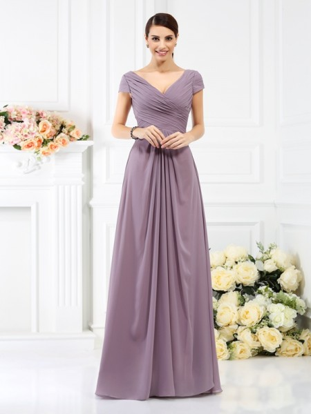 A-Line/Princess V-neck Pleats Short Sleeves Bridesmaid Dress with Long Chiffon