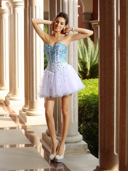 A-Line/Princess Sweetheart Ruffles Short Tulle Cocktail Dress