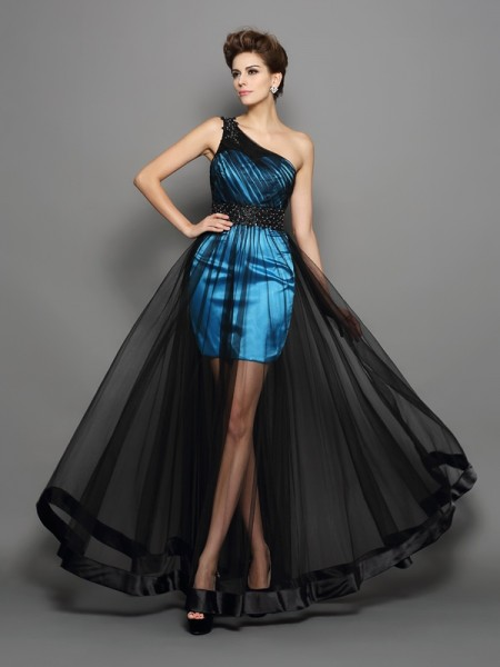 A-Line/Princess One-Shoulder Ruched Long Elastic Woven Satin Dress