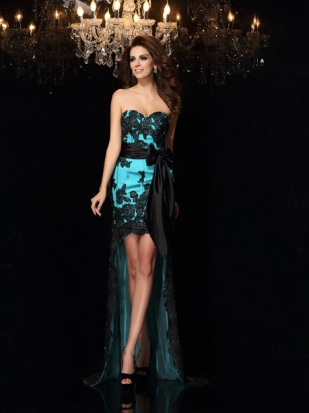 Sheath/Column Sweetheart Bowknot High Low Satin Dress