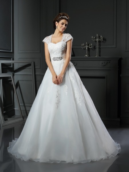 Ball Gown Square Beading Long Organza Wedding Dress