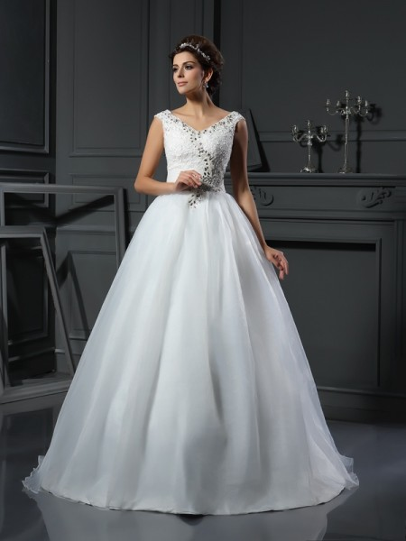 A-Line/Princess V-neck Beading Long Organza Wedding Dress