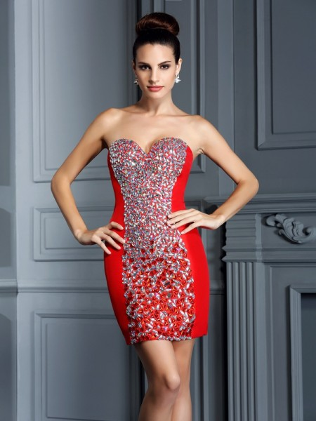 Sheath/Column Sweetheart Embroidery Short Taffeta Cocktail Dress
