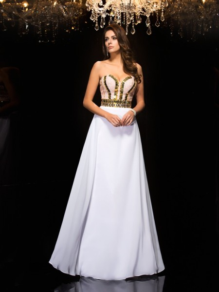 A-Line/Princess Sweetheart Sequin Dress with Long Chiffon