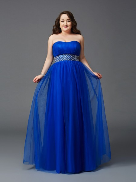 A-Line/Princess Strapless Rhinestone Long Net Plus Size Dress
