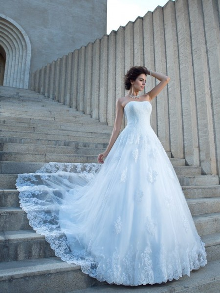 Ball Gown Spaghetti Straps Applique Satin Wedding Dress