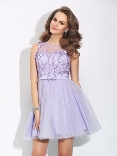 A-Line/Princess Bateau Applique Satin Dress