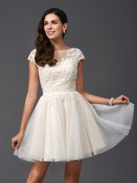A-Line/Princess Scoop Applique Short Sleeves Short Net Dress
