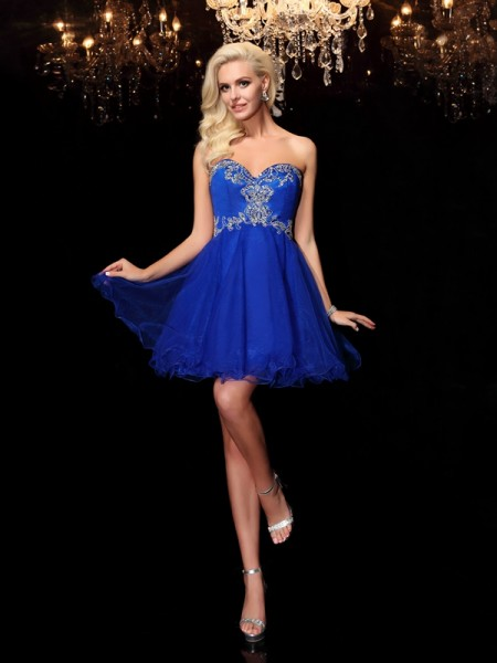 A-Line/Princess Sweetheart Beading Short Net Dress