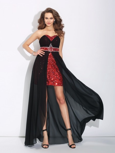 A-Line/Princess Sweetheart Sequin High Low Chiffon Dress