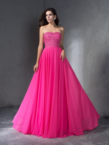 A-Line/Princess Sweetheart Beading Chiffon Dress