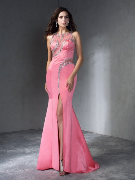 Trumpet/Mermaid Scoop Beading Satin Dress