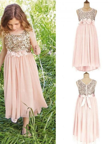 A-Line/Princess Sleeveless Scoop Asymmetrical Sequin Chiffon Flower Girl Dresses