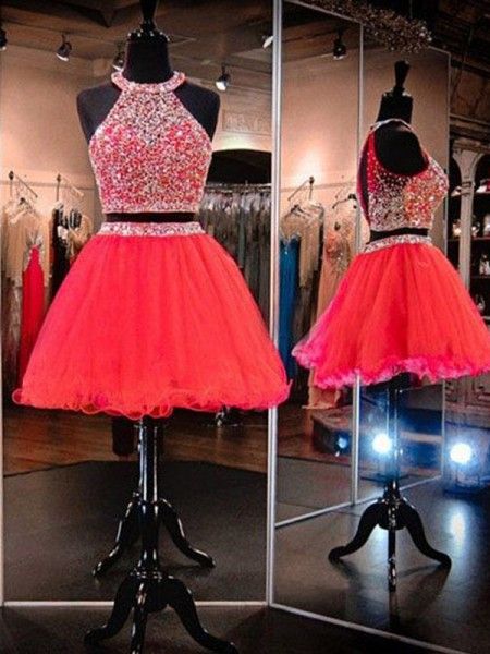 A-Line/Princess Sleeveless Halter Tulle Short/Mini Two Piece Gown