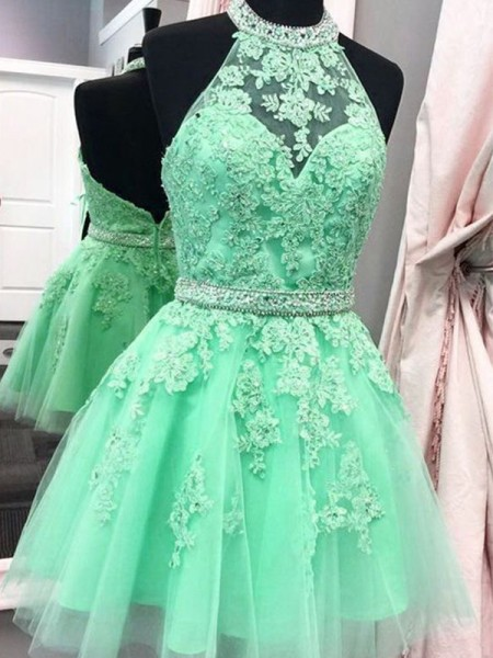 A-Line/Princess Sleeveless Halter Tulle Applique Short/Mini Gown