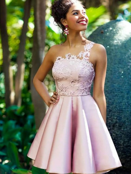 A-Line/Princess Sleeveless Satin Applique Short/Mini Gown