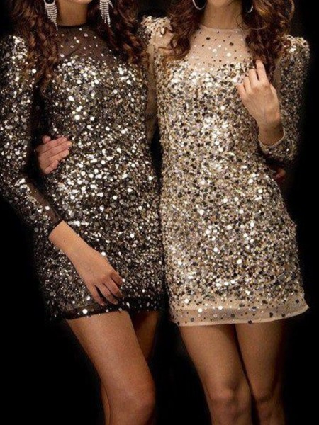 Sheath/Column Long Sleeves Bateau Sequin Short/Mini Gown
