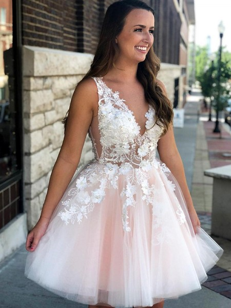 A-Line Sleeveless V-neck Tulle With Applique Short/Mini Gown