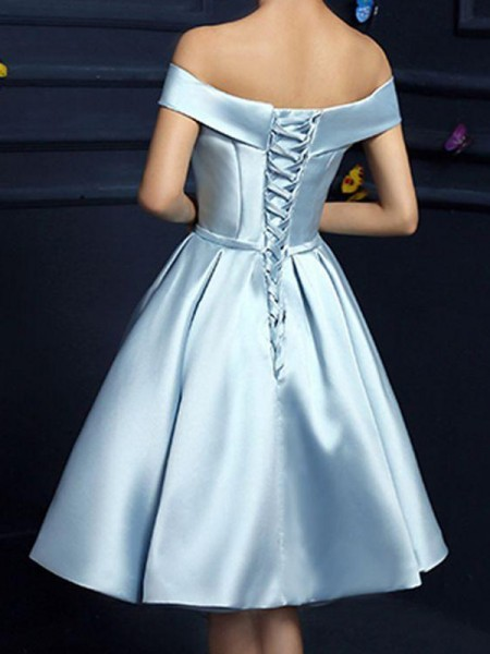 A-Line Satin With Bowknot Sleeveless Knee-Length Gown