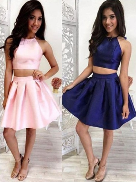 A-Line With Ruffles Halter Satin Sleeveless Short/Mini Two Piece Gown
