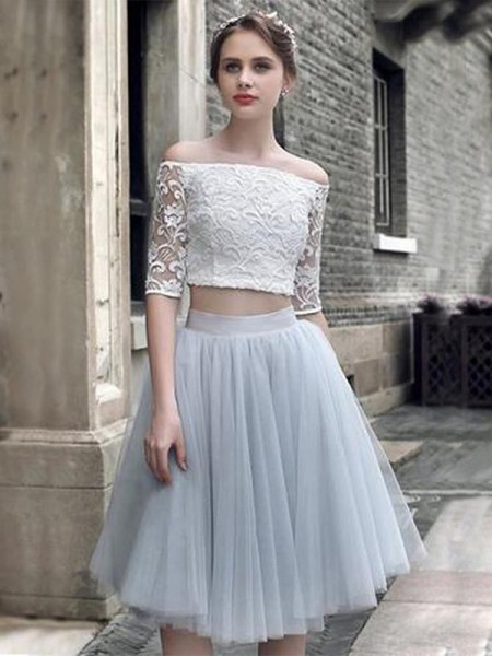 A-Line Tulle With Ruched 1/2 Sleeves Knee-Length Two Piece Gown