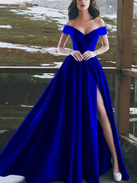 A-Line/Princess Sleeveless Off-the-Shoulder Floor-Length Satin Ruffles Dresses