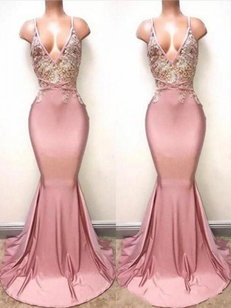 Trumpet/Mermaid V-neck Sleeveless Sweep/Brush Train Lace Satin Dresses