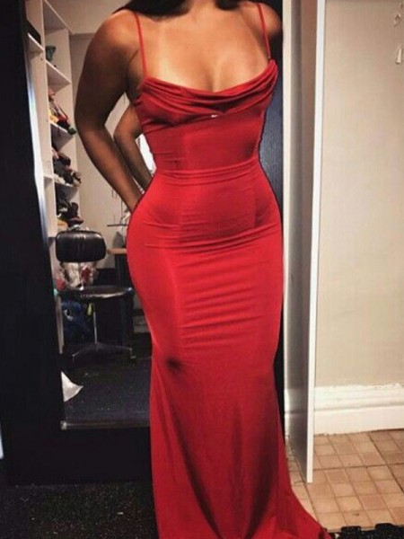 Sheath/Column Sleeveless Floor-Length Spaghetti Straps Spandex Ruffles Dresses