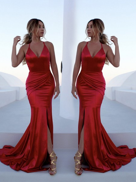 Trumpet/Mermaid Sleeveless Halter Ruffles Sweep/Brush Train Elastic Woven Satin Dresses