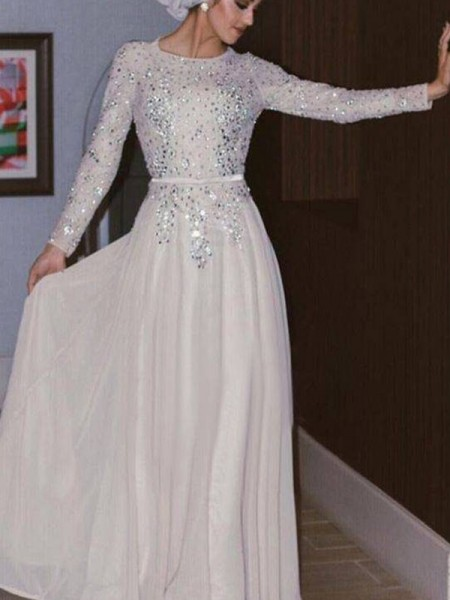 A-Line/Princess Sweep/Brush Train Floor-Length Scoop Crystal Chiffon Muslim Dresses