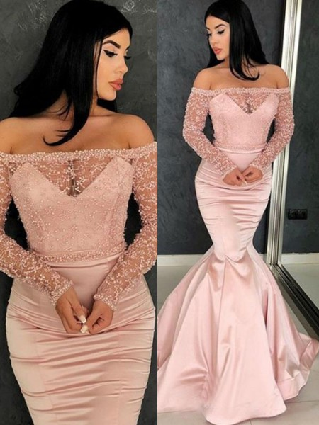 Trumpet/Mermaid Long Sleeves Sweep/Brush Train Off-the-Shoulder Satin Ruffles Dresses