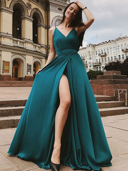 A-Line/Princess Sleeveless Straps Ruffles Sweep/Brush Train Satin Chiffon Dresses