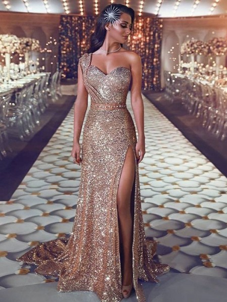 Sheath/Column Sleeveless One-Shoulder Sweep/Brush Train Beading Sequins Dresses