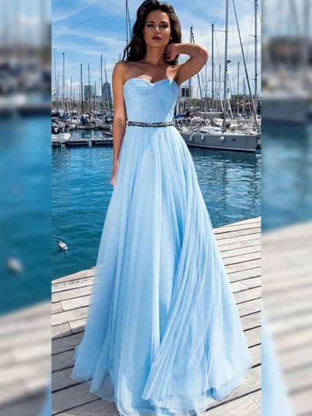 A-Line/Princess Chiffon Ruffles Sweetheart Sleeveless Floor-Length Dress