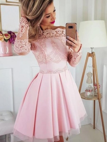 A-Line/Princess Satin Lace Off-the-Shoulder Long Sleeves Short/Mini Dress