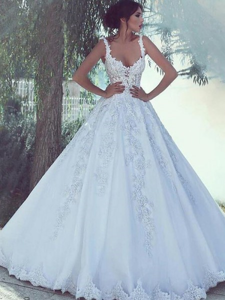 Ball Gown Scoop Sweep/Brush Train Sleeveless Lace Satin Wedding Dresses