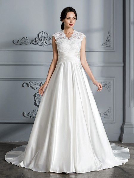 Ball Gown Satin V-neck Court Train Wedding Dress