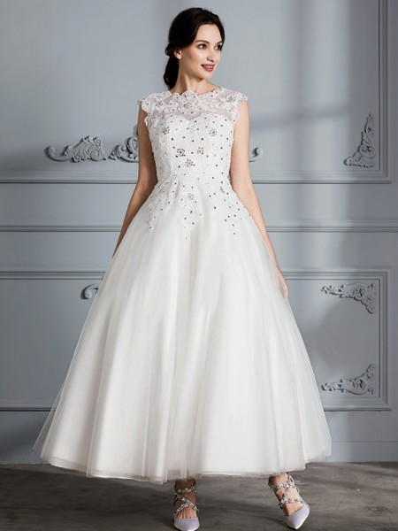 Ball Gown Tulle Scoop Tea-Length Wedding Dress