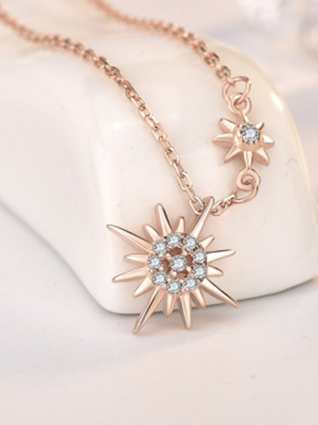 Trending Silver With Sun Ladies's Necklaces