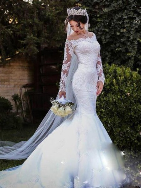Trumpet/Mermaid Tulle Lace Off-the-Shoulder Long Sleeves Sweep/Brush Train Wedding Gowns