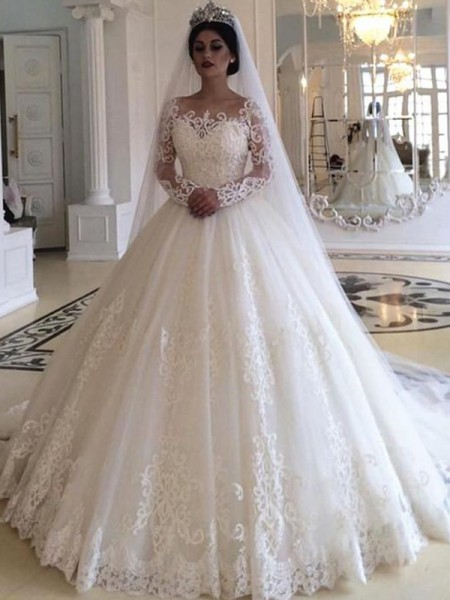 Ball Gown Tulle Applique Off-the-Shoulder Long Sleeves Sweep/Brush Train Wedding Gowns