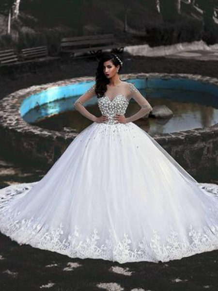 Ball Gown Tulle Beading Scoop Long Sleeves Sweep/Brush Train Wedding Gowns