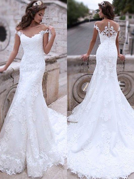 Trumpet/Mermaid Tulle Applique Off-the-Shoulder Sleeveless Sweep/Brush Train Wedding Gowns
