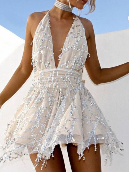 A-Line/Princess Chiffon Beading Halter Sleeveless Short/Mini Dress