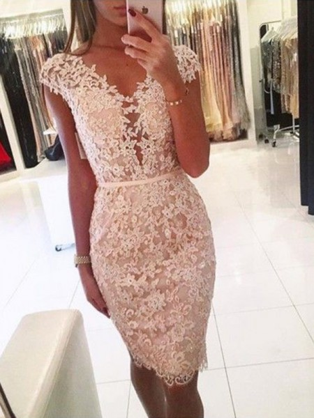 Sheath/Column Lace V-neck Sleeveless Knee-Length Short Dress