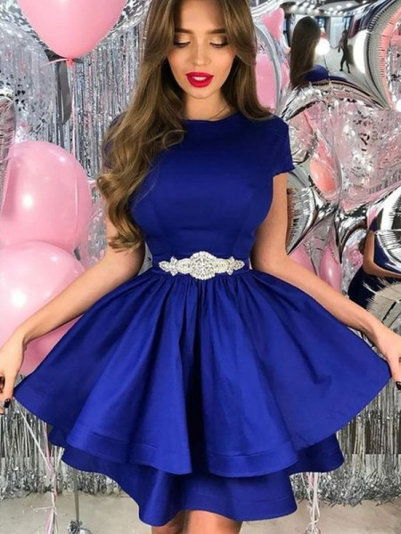 A-Line/Princess Satin Sash/Ribbon/Belt Sheer Neck Short Sleeves Short/Mini Dress
