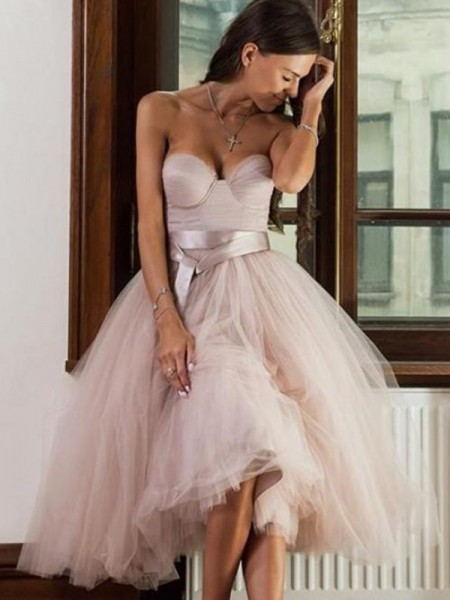 A-Line/Princess Tulle Sash/Ribbon/Belt Sleeveless Tea-Length Short Dress