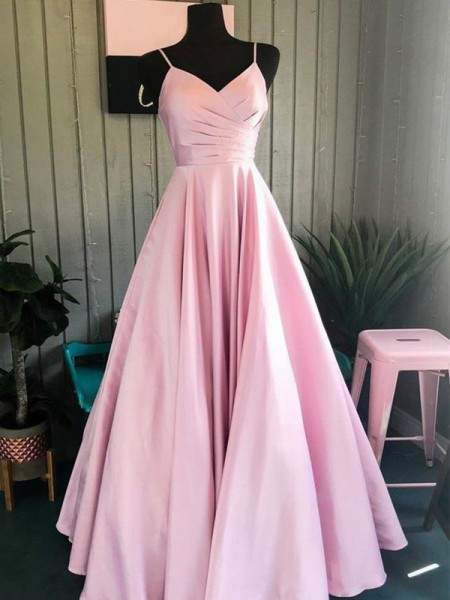 A-Line/Princess Satin Ruched Sleeveless Long Dresses